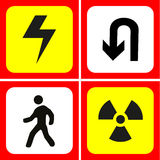 Danger and warning icons set great for any use. Vector EPS10. Stock Photo