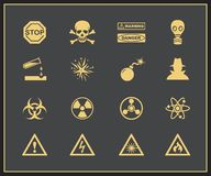 Danger and warning icons. Vector illustration of attention and hazrd Stock Images