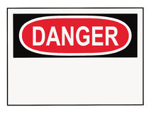 Danger Warning Sign. OSHA danger warning sign with copy space isolated on white Stock Image