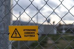 Danger warning sign. For high voltage Stock Photos