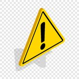 Danger warning sign isometric icon. Danger warning attention sign isometric icon 3d on a transparent background vector illustration Royalty Free Stock Photo