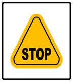 Danger warning sign. STOP in yellow triangle. Vector Illustration Royalty Free Stock Image