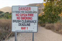 Danger wildfire area sign Stock Photo