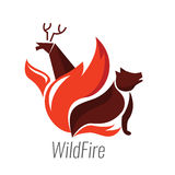 The danger of wildfire. Wild animals with fire. Royalty Free Stock Images