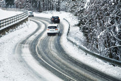 Danger winter road driving Royalty Free Stock Photos