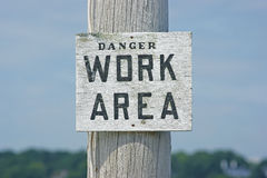 Danger work area sign Stock Photography