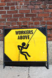 Danger Workers Above. A danger sign for workers above Stock Photo