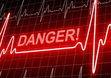 DANGER - written on red heart rate monitor Royalty Free Stock Images