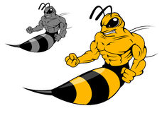 Danger yellow hornet with sting. In cartoon style for mascot design vector illustration