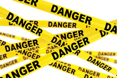 Danger Yellow Tape Strips Royalty Free Stock Images