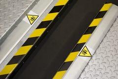 Danger Zone. Part of restricted area in car repair machine stock photos