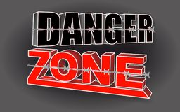 Danger zone, lines of barbed wire  against the backgroun. D, 3d text Stock Image