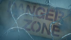 Danger zone sign on wall with smoke rising. Danger zone sign on wall with barbed wire and thick smoke stock video footage