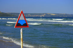 Danger zone sign on the beach Royalty Free Stock Photography