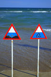 Danger zone signs on the beach Royalty Free Stock Images