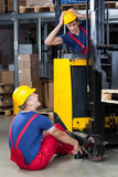 Dangerous accident in a factory. View of dangerous accident in a factory Stock Images