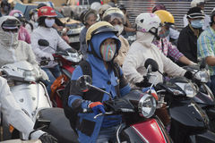 DANGEROUS AIR POLLUTION. In Ho Chi Minh City air pollution is accelerating at an alarming rate, particularly in the eastern and north-western areas such as Hang Stock Images