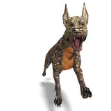 Dangerous alien dog with lizard skin. 3D rendering with clipping path and shadow over white Royalty Free Stock Photography
