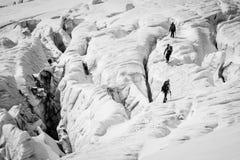 Dangerous alpine climbing Royalty Free Stock Photo
