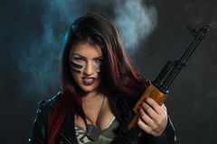 Dangerous Armed Woman Royalty Free Stock Photo