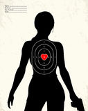 Dangerous armed woman - shooting range target. Concept Stock Images