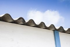 Dangerous asbestos roof Royalty Free Stock Photo