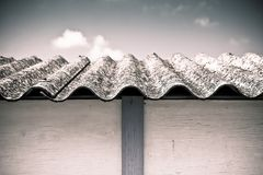 Dangerous asbestos roof Stock Images