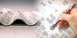 Dangerous asbestos roof: one of the most dangerous materials in buildings - concept image with hand drawing on an imaginary city. Map royalty free illustration