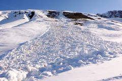 Dangerous avalanche posing danger to backcountry skiers. A dangerous avalanche posing danger to backcountry skiers stock images