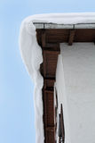 Dangerous avalanche roof Royalty Free Stock Photo