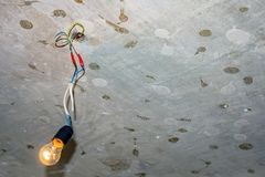 Bad wiring leading to the bulb royalty free stock photography