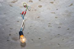 Bad wiring leading to the bulb royalty free stock image