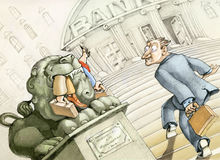Dangerous banks. A small investor is entering a bank and see the stone lion at the entrance into the maw those who arrived before him Stock Image