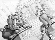 Dangerous banks. A small investor is entering a bank and see the stone lion at the entrance into the maw those who arrived before him Royalty Free Stock Photography