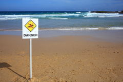 Danger warning sign at beach Stock Image
