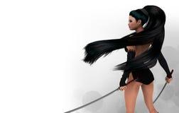 Dangerous beauty. Beautiful samurai girl with two swords Stock Photo
