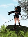 Dangerous beauty. Beautiful samurai girl with two swords Royalty Free Stock Photos