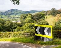 Dangerous bend in road in Wales Royalty Free Stock Images