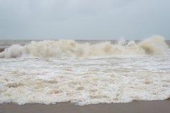 Dangerous and big waves at pantai cinta berahi beach in kota bharu, kelantan, malaysia royalty free stock photo