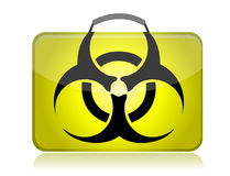 Dangerous biohazard suitcase yellow illustration Stock Photo