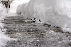 Dangerous black ice. On a footpath Stock Photography