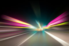 Dangerous blurred vision driving Stock Photo