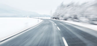Dangerous blurred winter driving Royalty Free Stock Images