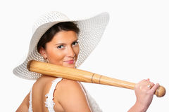 Dangerous bride with baseball bat Royalty Free Stock Photos