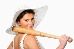 Dangerous bride with baseball bat Royalty Free Stock Photos