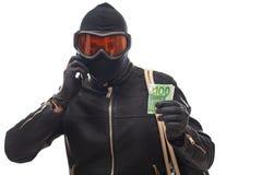 Dangerous burglar in black Royalty Free Stock Photography