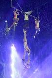 Dangerous complex swing acrobatics stock images