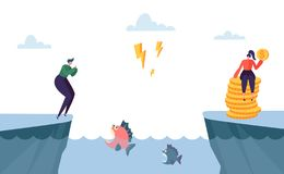 Dangerous Complicated Way to Money Profit. Woman Character Jump over Sea full of Angry Fish. Hard Way to Prosperity. Metaphor Concept. Flat Cartoon Vector vector illustration