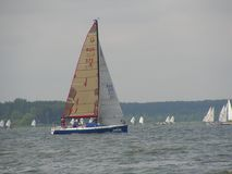 Dangerous convergence of yachts. Photo 14 of 14. The Minsk Sea Zaslavskoe reservoir Republic of Belarus. The first stage of the open Cup `Belarusian Sailing royalty free stock photo