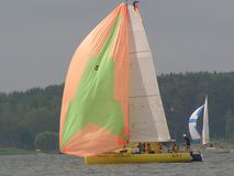 Dangerous convergence of yachts. Photo 7 of 14. The Minsk Sea Zaslavskoe reservoir Republic of Belarus. The first stage of the open Cup `Belarusian Sailing royalty free stock images